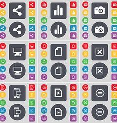 Share Diagram Camera Monitor File Stop SMS Media vector