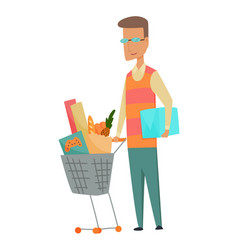 shopping man character with basket full food vector image