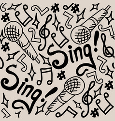 sing seamless pattern monochrome vector image