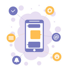 smartphone with apps icons mobile communication vector image