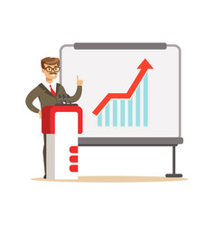 smiling businessman giving a presentation and vector image