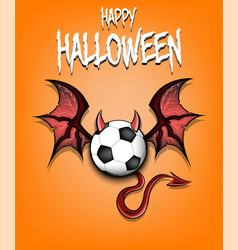 Soccer ball with horns wings and devil tail vector