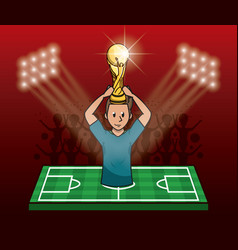 Soccer player on camp field vector