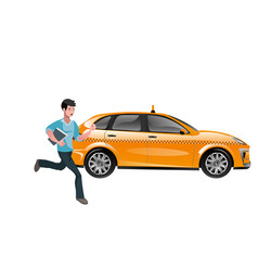 Successful businessman hailing a taxi vector