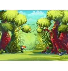 Sunny morning in jungle with bird vector