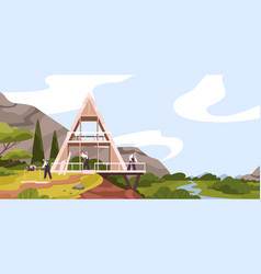 team male constructors building modern wooden vector image