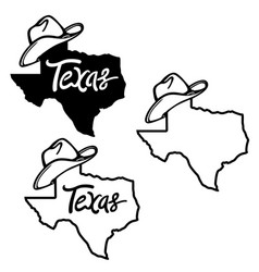 Texas map and cowboy hat vector