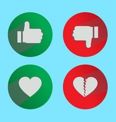 Thumbs up and thumbs down icons in shape vector