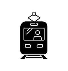 tram black glyph icon vector image
