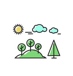 trees under sun nature set vector image