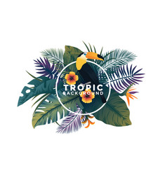 tropical background with frame - bird and plants vector image