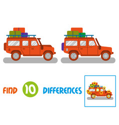 Truck find 10 differences vector