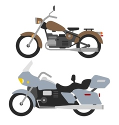two retro motorbikes isolated on white vintage vector image