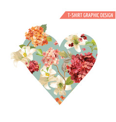 vintage autumn flowers graphic design for t-shirt vector image