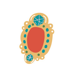 vintage brooch pendant with gemstones jewelry vector image