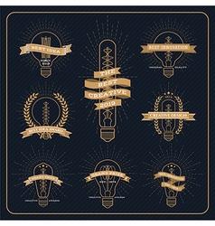 Vintage bulb creative and idea award label vector