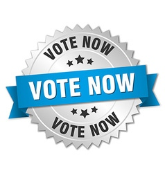 Vote now 3d silver badge with blue ribbon vector