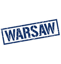 Warsaw blue square stamp vector