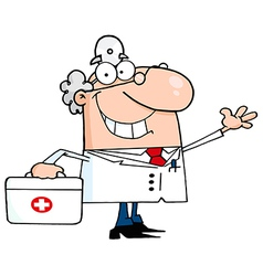 Waving Caucasian Male Doctor With A First Aid Kit vector image