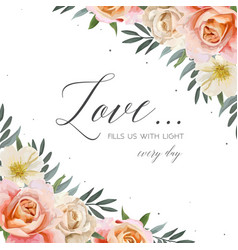 Wedding floral invite greeting card postcard card vector