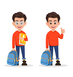 welcome back to school set of two poses vector image