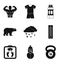 winter playful icons set simple style vector image