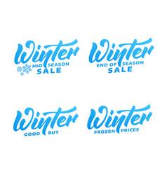 winter sale winter lettering labels winter mid vector image