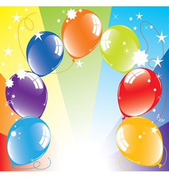 colorful balloons and light-burst vector image