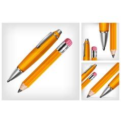 pencils eraser pen three background 10 v vector image