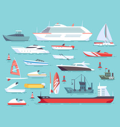 big set of sea boats and little fishing ships vector image