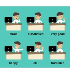 Businessman emotions set vector image