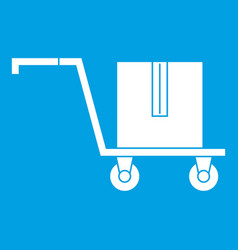 Delivery cart with box icon white vector