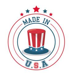 made in usa top hat flag emblem badge vector image