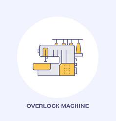 sewing machine overlock flat line icon logo vector image vector image
