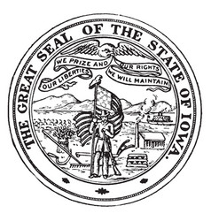 the great seal of the state of iowa vintage vector image