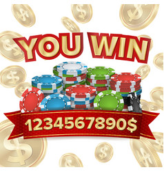 you win jackpot background falling vector image vector image