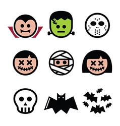 Halloween characters - Dracula monster mummy ico vector image vector image