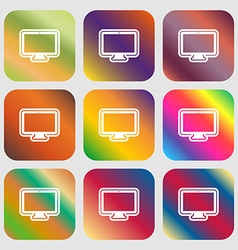 monitor icon Nine buttons with bright gradients vector image