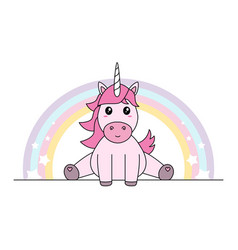 pink unicorn with rainbow sitting pastel colors vector image vector image