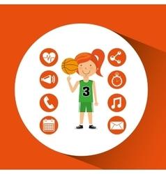 Sport girl basketball athlete graphic vector