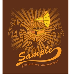 summer music t-shirt design with gramophone vector image vector image