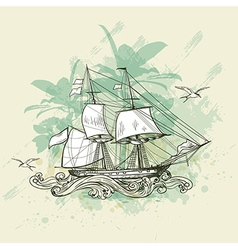 Vintage background with sailing vessel vector image vector image