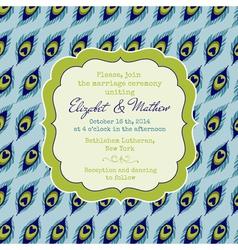 Wedding Vintage Invitation Card - Peacock Theme vector image vector image