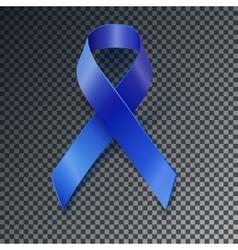 Awareness blue ribbon transparent shadow vector image