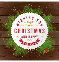 Christmas card on wooden background vector image vector image