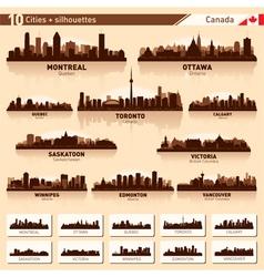 City skyline set Canada silhouettes vector image