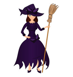 halloween holiday cute girl witch with a broom vector image
