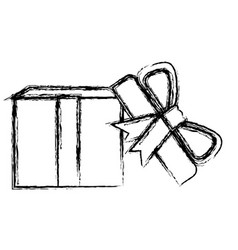 monochrome blurred silhouette of opened gift box vector image vector image