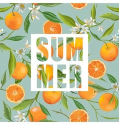 Seamless Pattern Orange Fruits Background Floral vector image vector image