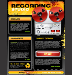 sound recording studio brochure flyer detailed vector image vector image